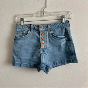 High Waisted Blue Jean Shorts With 5 Gold Buttons